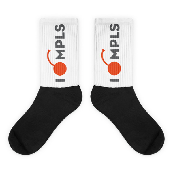 I Cherry MPLS Socks White and Black