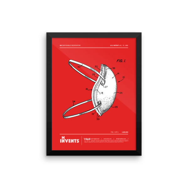 Disposable Respirator Poster Framed