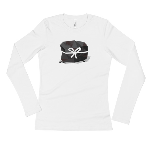 Lump of Coal Shirt Longsleeve Women White Ribbon
