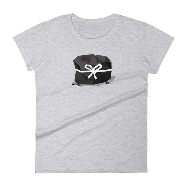 Lump of Coal Tee Women White Ribbon
