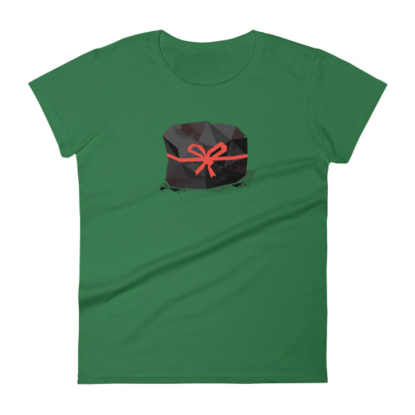 Lump of Coal Tee Women Red Ribbon
