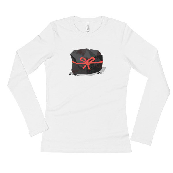 Lump of Coal Shirt Longsleeve Women Red Ribbon
