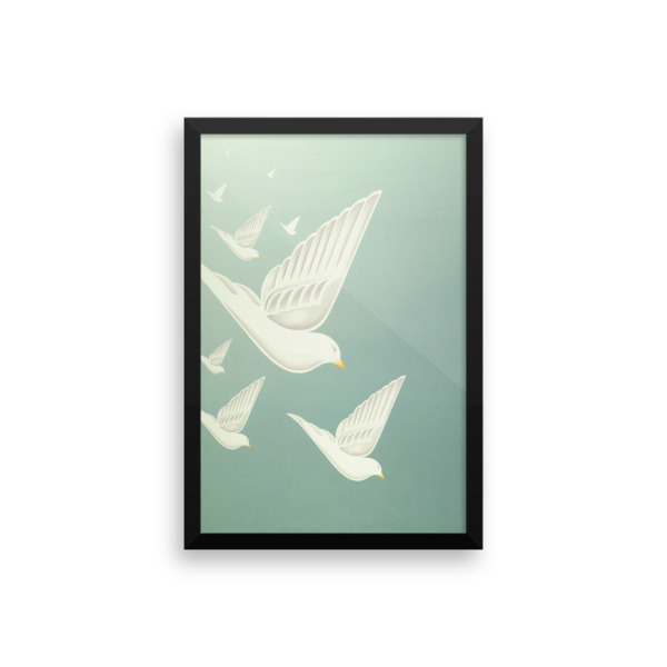 Diving Doves Poster Framed