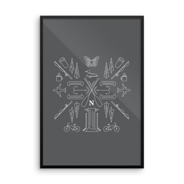 Nokomis Crest Poster Framed Dark