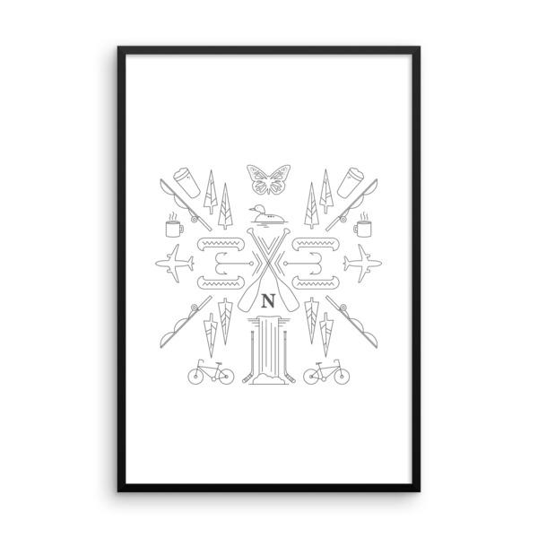 Nokomis Crest Poster Framed Light
