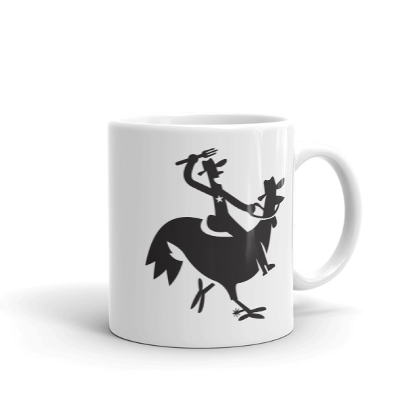Cartoony Cowboy Chicken Mug