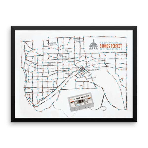 St. Paul Poster Framed Tape Map