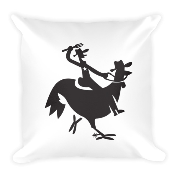Cartoony Cowboy Chicken Pillow