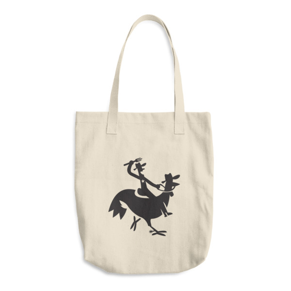 Cartoony Cowboy Chicken Tote