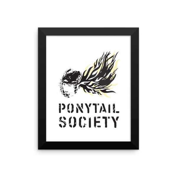 Old Time Hockey Ponytail Society Poster Framed