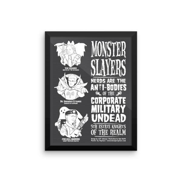 Monster Slayers Poster Framed