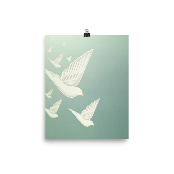 Diving Doves Poster