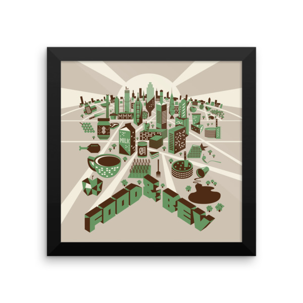Food Town Poster Framed