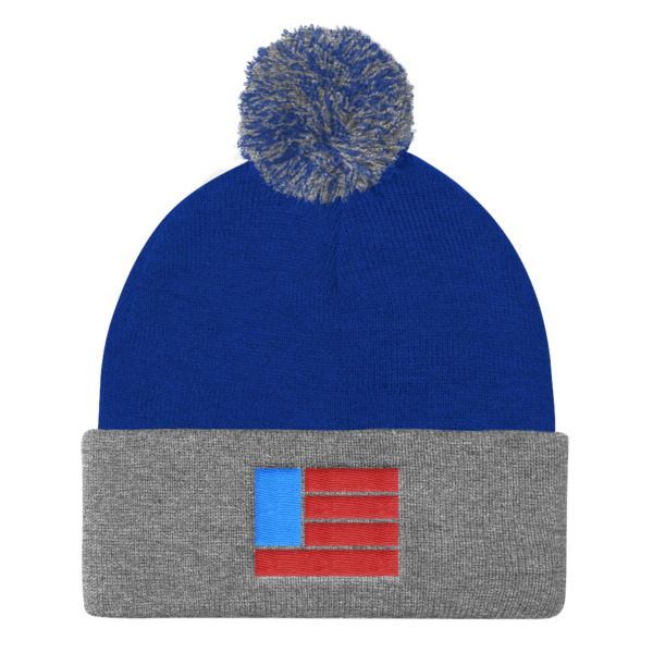 Freedom Fun Flag Pom Pom Beanie