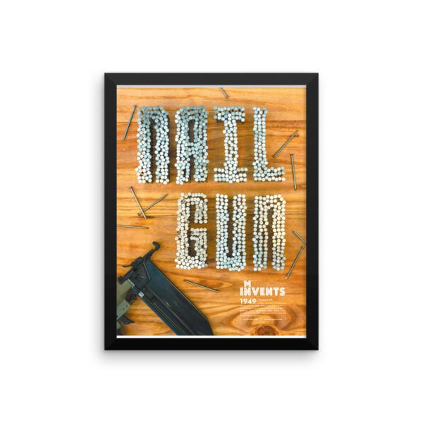 Nail Gun Poster Framed