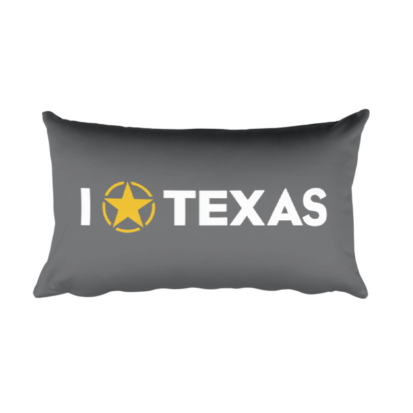 I Lone Star Texas/Yo Estrella Solitaria Texas Pillow Gray