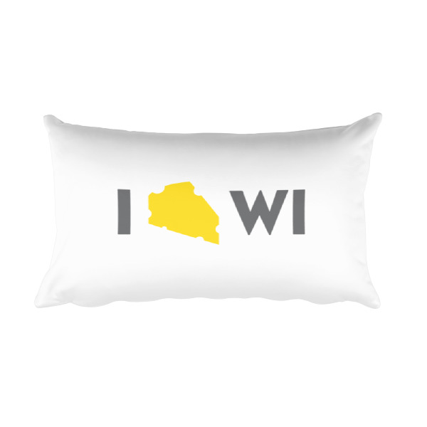 I Cheese Wisconsin Pillow White