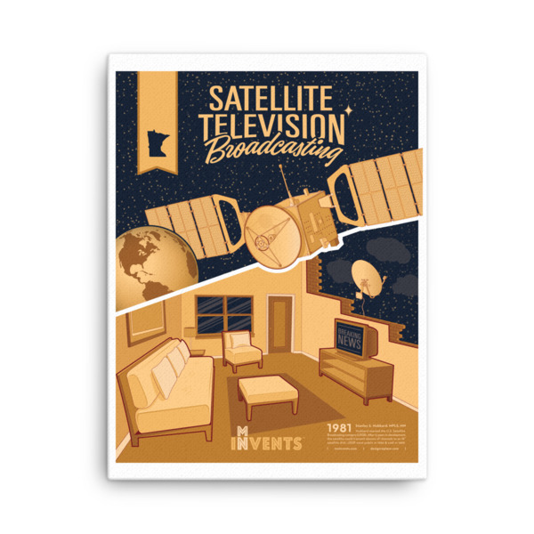 Satellite TV Broadcasting Poster Canvas