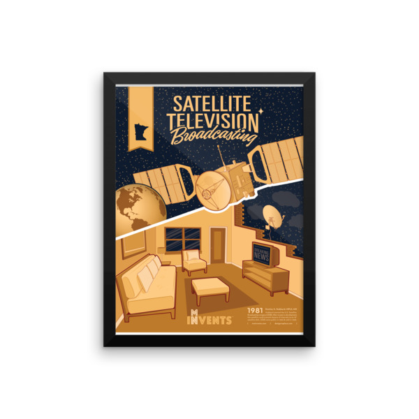 Satellite TV Broadcasting Poster Framed