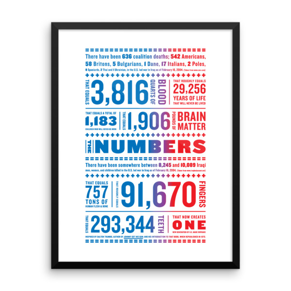 Iraq Numbers Poster Framed