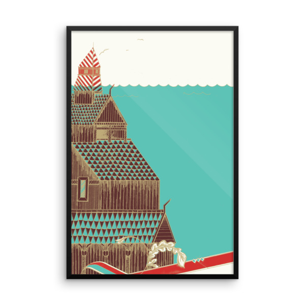 Stave Church Poster Framed